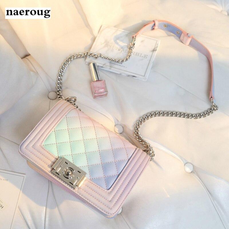 Women's Designer Handbag 2018 Fashion New High Quality Leather Women Bag Gradient Plaid Chain Shoulder Messenger Bags louis gg