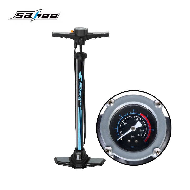 SAHOO Bicycle Air Pump Tire Inflator With TOP Barometer Floor Type Riding Bike High-pressure Pump INFLATOR Cycling Accessories sahoo 21255 sa