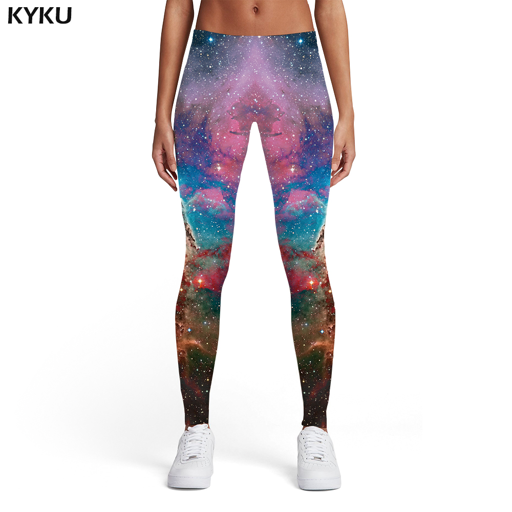 KYKU Brand Galaxy Leggings Women Space Sexy Nebula Spandex Graffiti Printed pants Colorful 3d Print Womens Pants