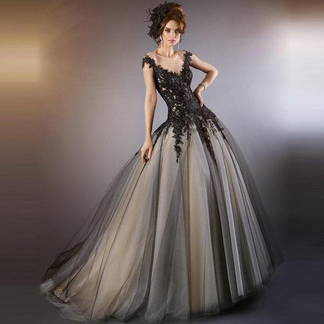 Black Gothic Lace Wedding Dresses Tulle Wedding Gowns Weeding Weding Bridal Bride Dresses Weddingdress robe de mariage