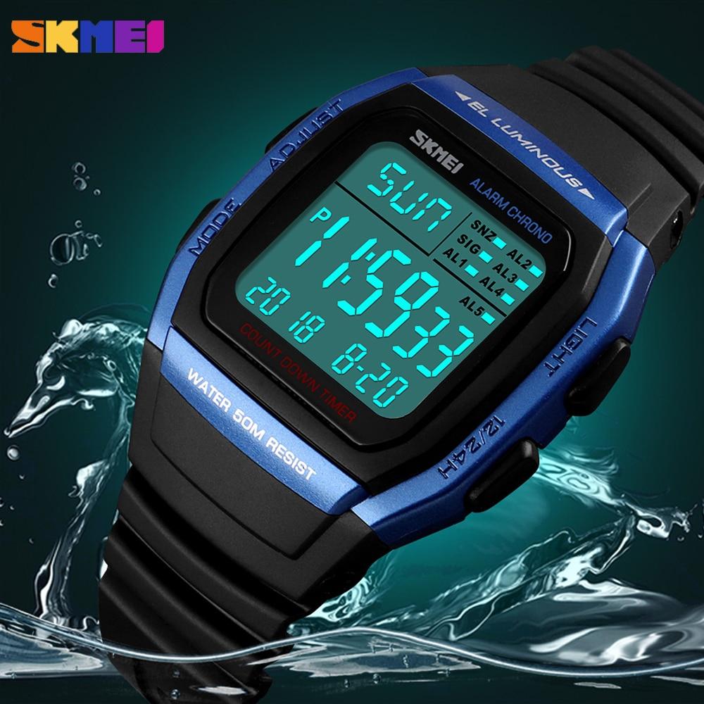 SKMEI Luxury Sport Men Watches Outdoor Fitness Chrono Digital Electronic Clock Waterproof Military Wristwatch Relogio Masculino