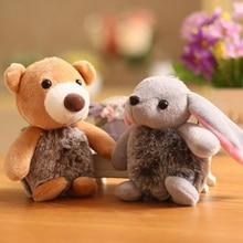 Plush Fur Rabbit Keychain Mini Bear Pendant Soft Stuffed Animal Toy Doll Key Chain Cartoon Childrens Toys