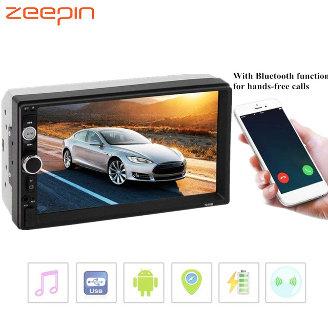 NEW 7010B 7 Inch TFT Car Audio Stereo Touch Screen 2 Din MP5 Player Rearview Camera Bluetooth 2.0 Hands-free Call AUX TF USB FM