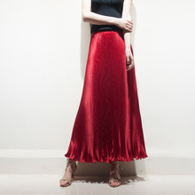 Spring Autumn Fashion Elegant Metal Elastic Waist Long Pleated Skirts 2017 Bright Satin Ladies Maxi Long Tulle Women's Skirts