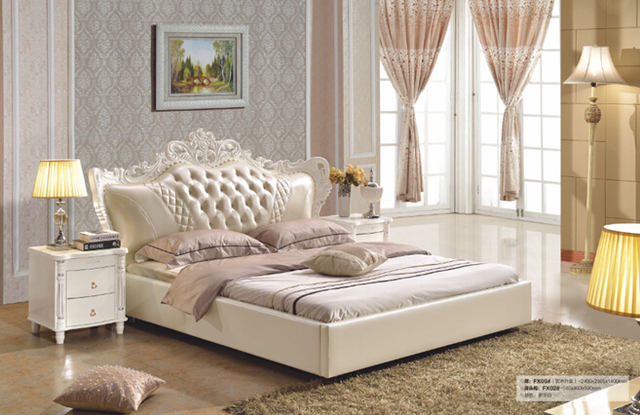 2016 Hot Sale Sale Modern No Synthetic Leather Bedroom Furniture King Size Synthetic  Leather Bed Baroque