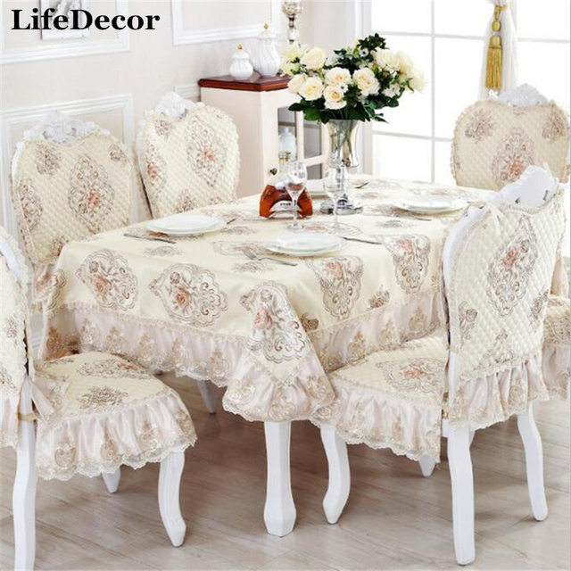 European Luxurious Rectangular Tablecloths Dining Table Cover High Quality  Christmas Linen Table Cloth For Home Decoration