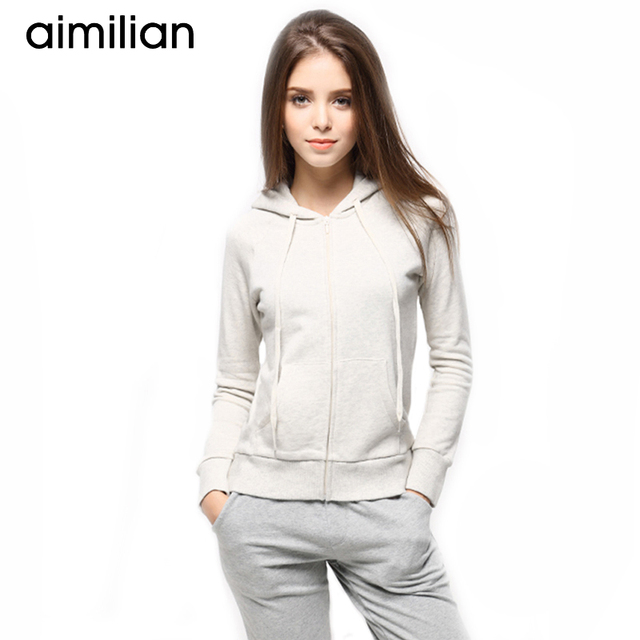 56fe76259e0 aimilian 2017 New Summer Women Cotton Solid Sweatshirts Zipper Knitted Zip-up  Hoodies Long Sleeves Candy Color Big Plus Size XXL