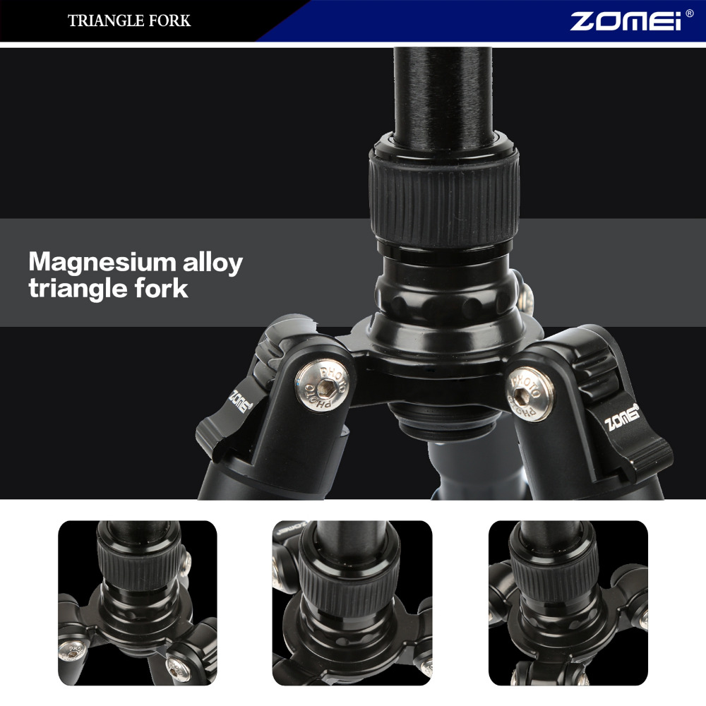 Image 5 - ZOMEI lightweight Portable Q666 Professional Travel Camera Tripod Monopod aluminum Ball Head compact for digital SLR DSLR camera-in Live Tripods from Consumer Electronics