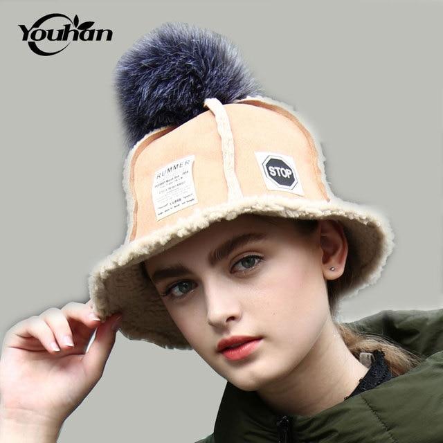 Youhan Панамы для женщин зимняя шапка для модные  женские  теплые Кепки S  Вязание овчины d04400ade270e