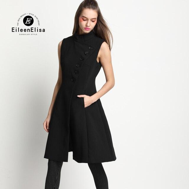 2017 Runway Womens Coat Black Coat Suits for Women Sleeveless Long ...