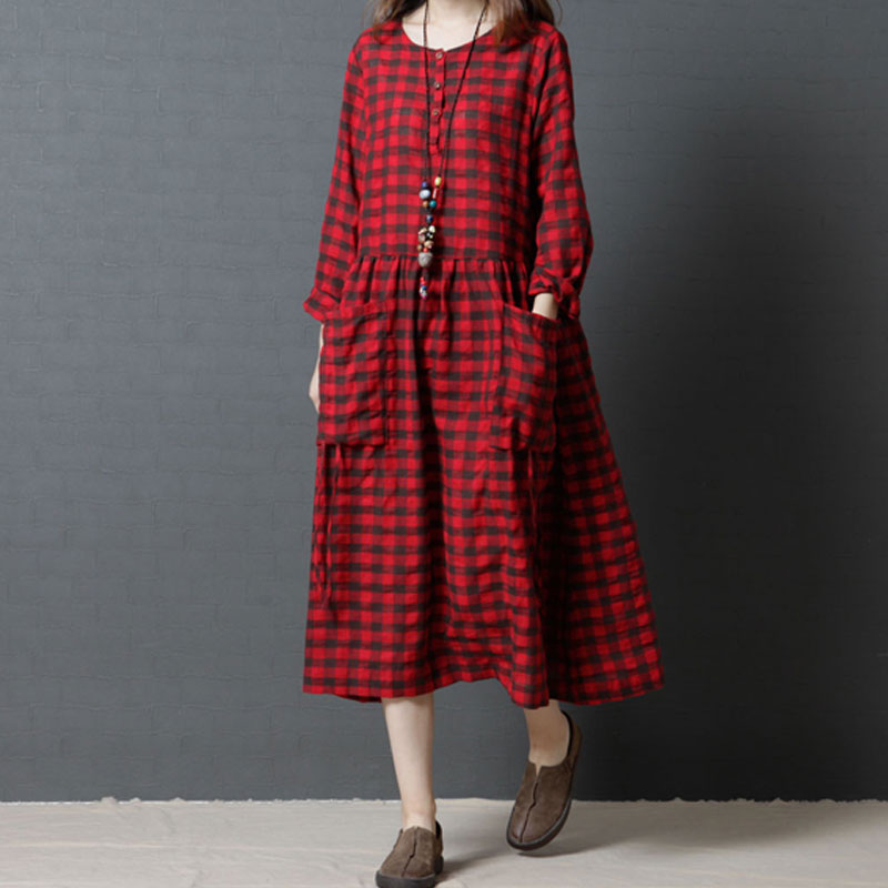 Autumn Spring Dress Women O-neck Pullover Long sleeve Vintage Plaid Loose Plus Size Casual Female Dresses With Pockets Z5439