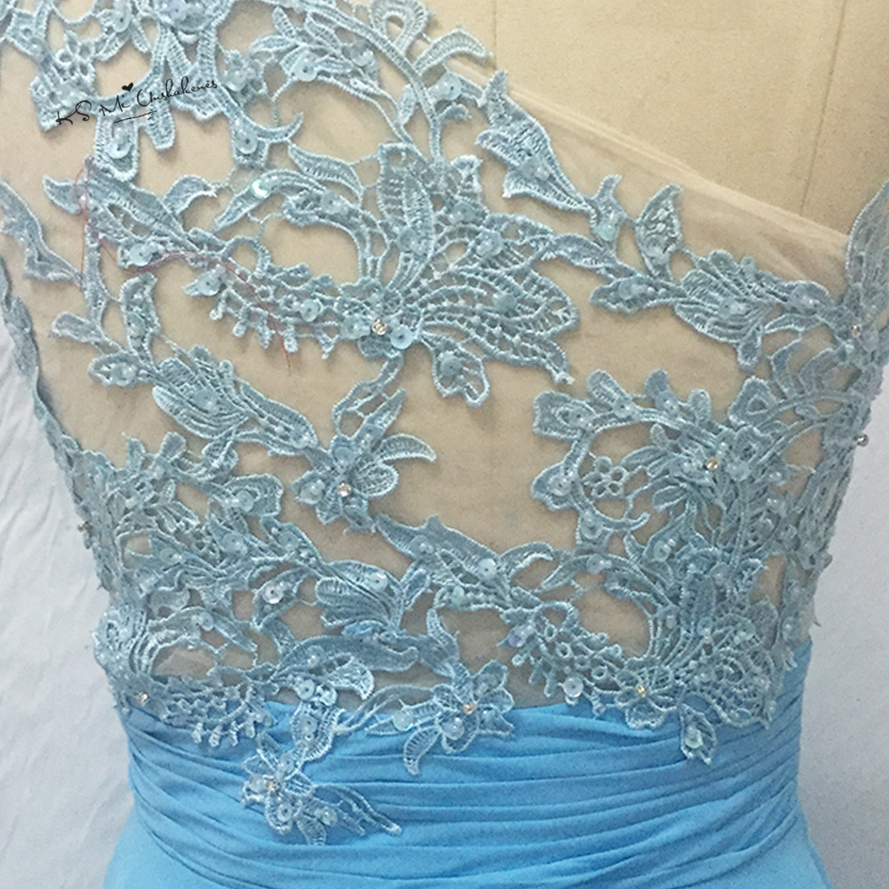 Blue Lace Prom Dresses Long 2017 Cheap one Shoulder College ...