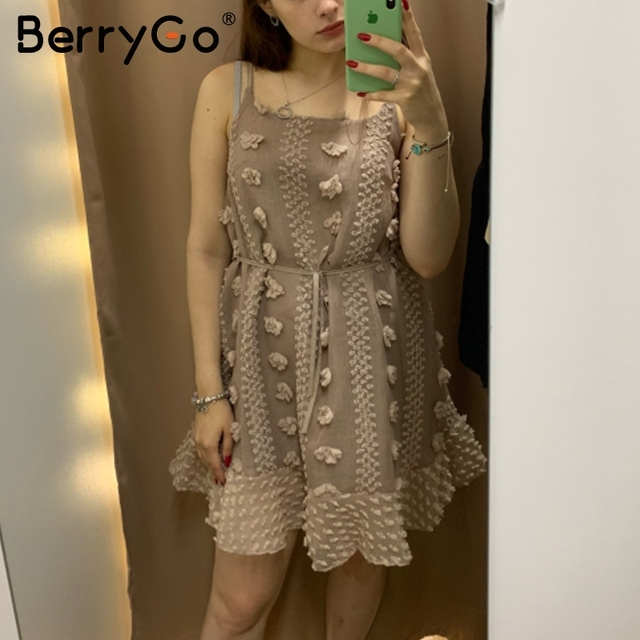 BerryGo Elegant spaghetti strap short dresses party Casual summer sundress ladies dresses 2019 Flower embroidery dress vestidos 4