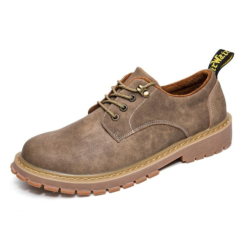 Do Vintage Dos khaki Sapatos Lace Inverno yellow Casuais Brown Pelúcia De Quentes Homens Sapatas Couro Up z1nvSHH
