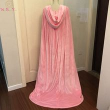 Pink Winter Cloak Wedding Party Velvet Long with Sweep Train Hooded Walk Beside You Bridal Wrap Shawl Princess Cape Ladies Shrug