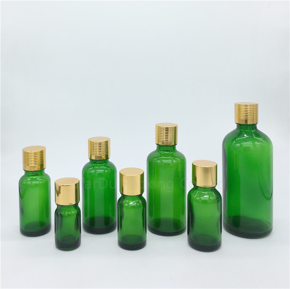 5ml/10ml/15ml/<font><b>20ml</b></font>/30ML/50ml/100ml Green <font><b>Glass</b></font> <font><b>Bottle</b></font> <font><b>Vials</b></font> Essential Oil <font><b>Bottle</b></font> <font><b>with</b></font> gold <font><b>screw</b></font> <font><b>cap</b></font> Perfume <font><b>bottles</b></font> image