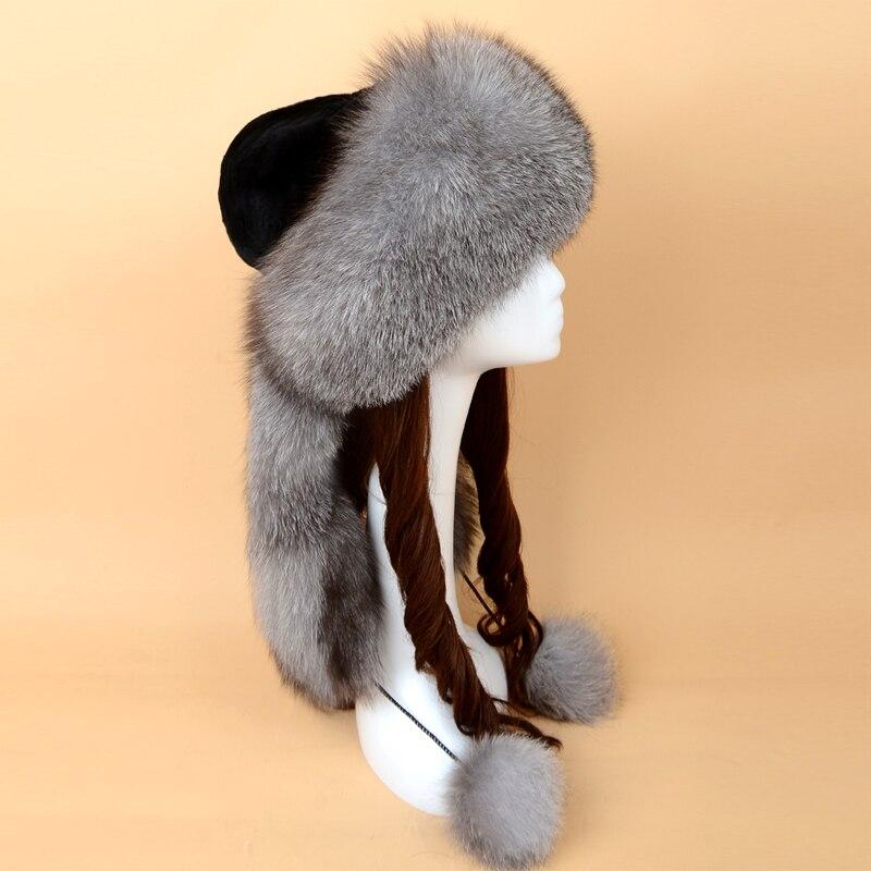 Chapeau de fourrure russe renard fourrure chapeau Skullies bonnets adulte hiver chapeau femmes spécial mode Style boule décoration 2017 nouveau SF13060 16 - 3