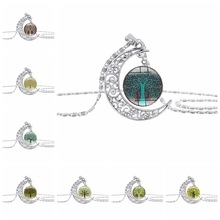 new crescent Bright moon life tree necklace half flower plant lucky amulet hollow time pendant