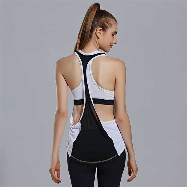 5a7a95989a6e Women Running Tank + Bra Gym Sports T Shirt Yoga Workout Vest Fitness  Training Exercise Clothing Sportswear Tee Tops Clothes