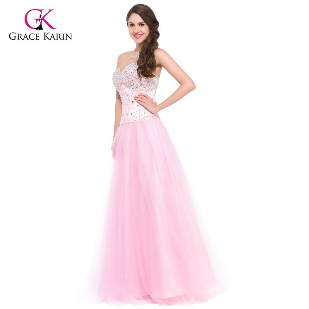 Larga Vestidos de noche 2018 Grace Karin blanco azul Rosa mujeres ...