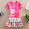 Розничная Лето девочка одежда Прекрасные платья дети одежда мультфильм розовая свинья девушка платье рукав хлопок девушка одежда