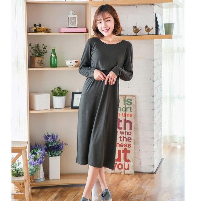 2ba180a63 Casual vestidos de maternidad ropa de lactancia para las mujeres  embarazadas enfermería vestido largo manga larga