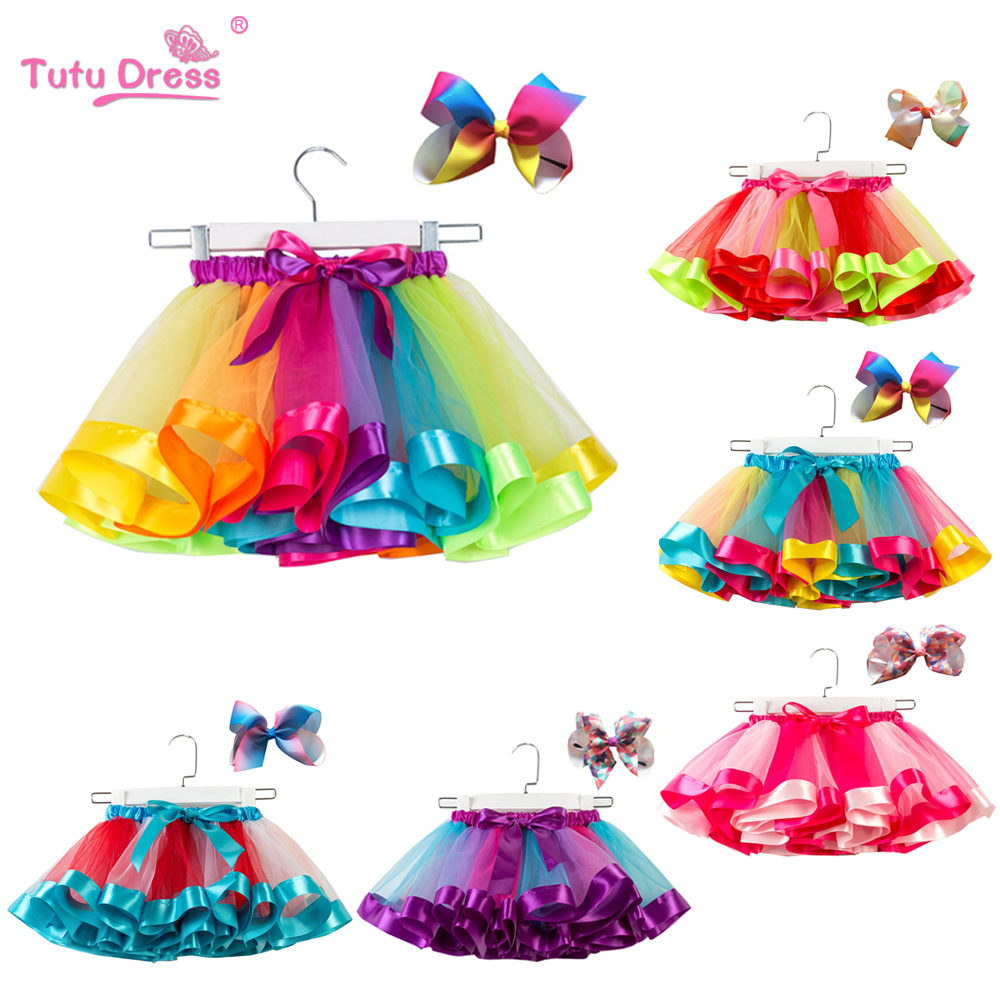 Fashion Sweet Toddler Kids Baby Girls Clothes Tutu Skirt Outfits Summer Cute Children Tulle Skirt + Bow Rainbow Tutu Skirt ywhuansen 2018 new rainbow cotton skirt sequin embroidery baby girl skirt cute rabbit princess kid clothes tutu skirt tulle pink