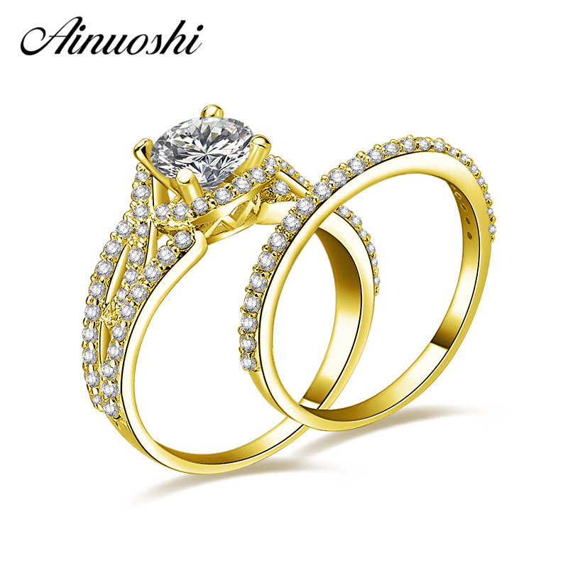 AINUOSHI 14K or jaune bagues de mariée ensemble 1ct rond coupe SONA diamant bague ensemble bijoux de mariage vrais anneaux en or massif pour les femmes