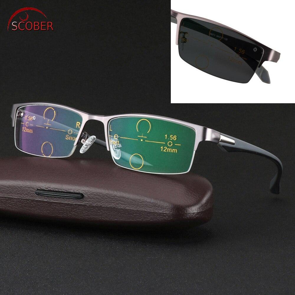 2019 Gafas De Lectura Scober = monture ultralégère al-mg Tr90 jambes lunettes De lecture multifocales progressives bifocales + 1 + 1.5 à + 3.25