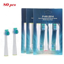 Wholesale 80pcs HX2014 Sonic Electric Replacement Tooth Brush For Philips Sonicare Toothbrush Heads Proresults Soft Bristles
