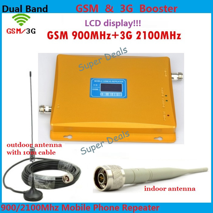 Full Set Newest GSM 2G 3G LCD Signal Booster ! GSM 900 GSM 2100 Mobile Phone Signal Booster Amplifier 3G GSM Repeater + AntennaFull Set Newest GSM 2G 3G LCD Signal Booster ! GSM 900 GSM 2100 Mobile Phone Signal Booster Amplifier 3G GSM Repeater + Antenna
