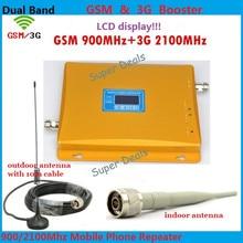 Полный набор Новый GSM 2 г 3 г ЖК-дисплей усилитель сигнала! GSM 900 gsm 2100 мобильный телефон усилитель сигнала Усилители домашние 3 г GSM репитер + Телевизионные антенны
