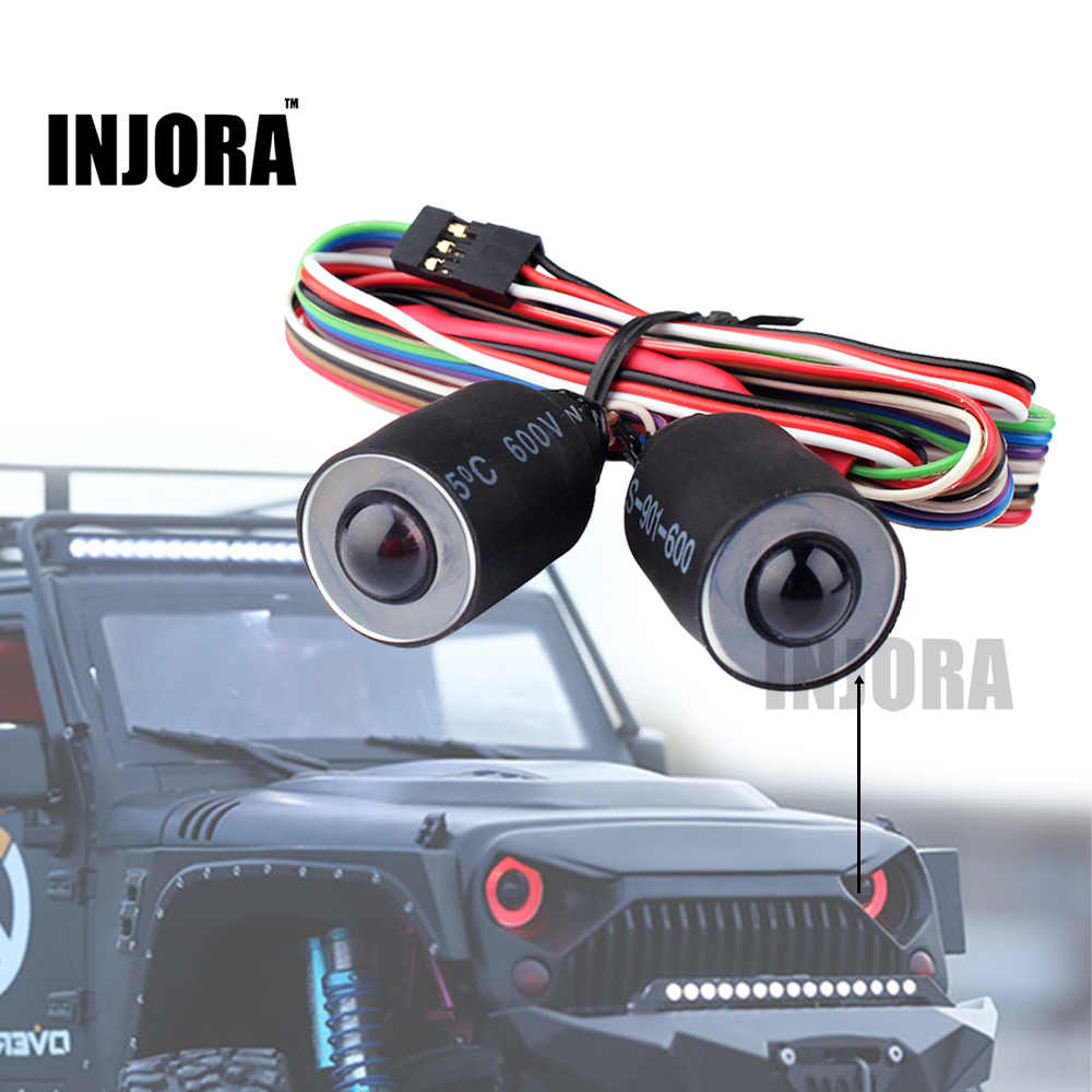 INJORA Rood/Blauw LED Verlichting Koplamp voor 1/10 RC Rock Crawler Axiale SCX10 D90 Body Shell