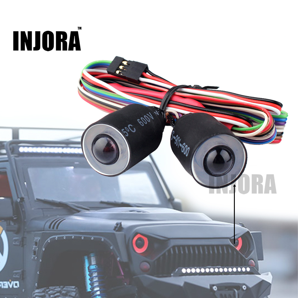 INJORA Red/Blue LED Lights Headlight for 1/10 RC Rock Crawler Axial SCX10 RC4WD D90 Jeep Wrangler Rubicon Body rc car xtra speed 1 10 nylon angry eyes grill body for 1 10 scale models jeep wrangler body xs 59758 scx10 jeep climbing cars