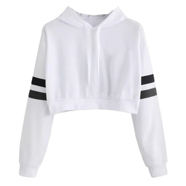 012544770b58e Womens Oversized Hoodies Pullover Solid Long Sleeve Crop Top Hoodies  Sweatshirt Women Hooded Pullover Dropshipping 40AT17