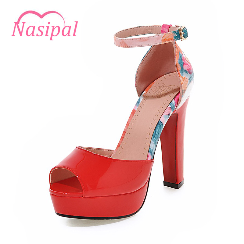 Nasipal Women High Heels Sandals Flower Peep-toe Woman Shoes Patent Leather Fashion Platform Super High Heels 12cm Sandals C094 2016 genuine leather women sandals fashion peep toe shoes woman popular mixed color wedges high heels glitter platform shoes