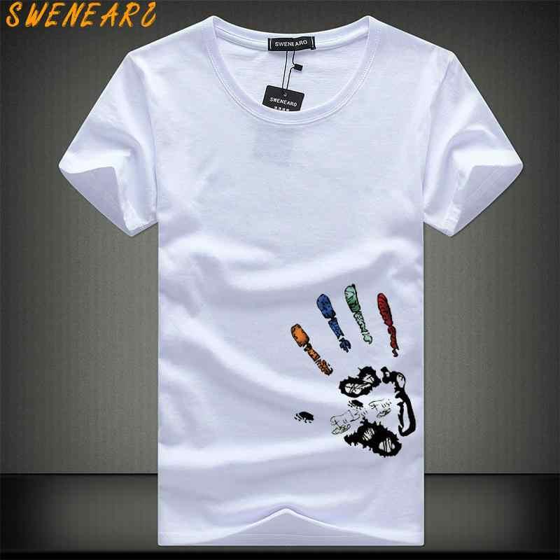 58898b7e00270 SWENEARO мужские футболки плюс размер 5XL 4XL Футболка Homme Лето с коротким  рукавом мужские футболки Camiseta