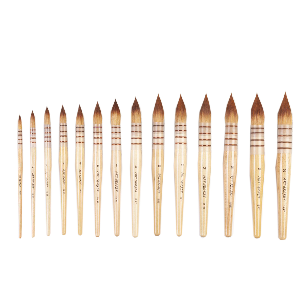 15RT High Quality Korea Taklon Hair Wooden Handle Art Paint Painting Brushes Artistic Watercolor Brush Pen For Drawing