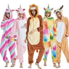 Winter Animal Unicorn Pajamas Sets Adults Pijama Unicornio Stitch Women Men Sleepwear Cosplay Onesie Unisex Lion Hooded Homewear