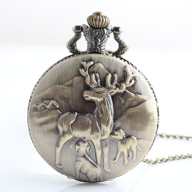New Hot Sale Bronze Canada Deer Pattern Quartz Pocket Watch Men Women Antique Watches With Long Chain Pocket Watch Pendant