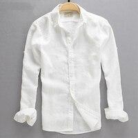 2015 Summer Fashion Male Casual Linen White Shirt Men Thin Slim Fit Plus Size Solid Color