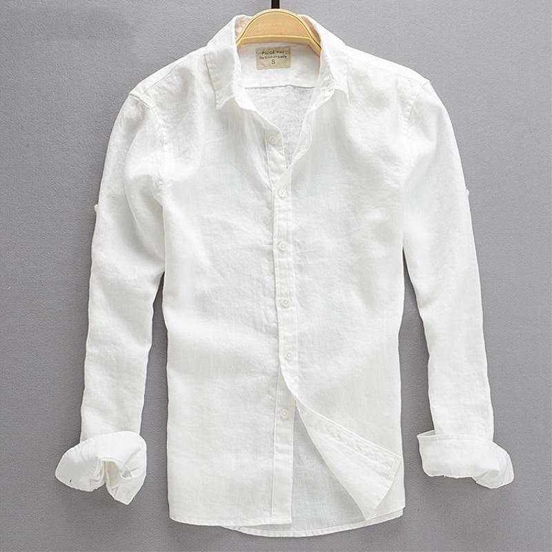 75de863efbf05 2018 Yaz Moda Erkek Rahat Keten Beyaz Gömlek Erkekler Ince Slim Fit Artı  Boyutu Düz Renk erkek giyim Sıvı Uzun- kollu Gömlek