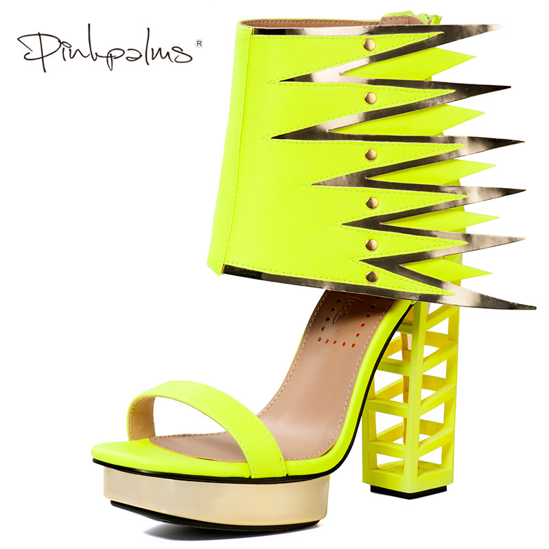 Pink Palms Summer Shoes Women High Heels Fretwork Heels Metallic Platform Sandals Strange Square Heel with Wing Neon Yellow neon yellow