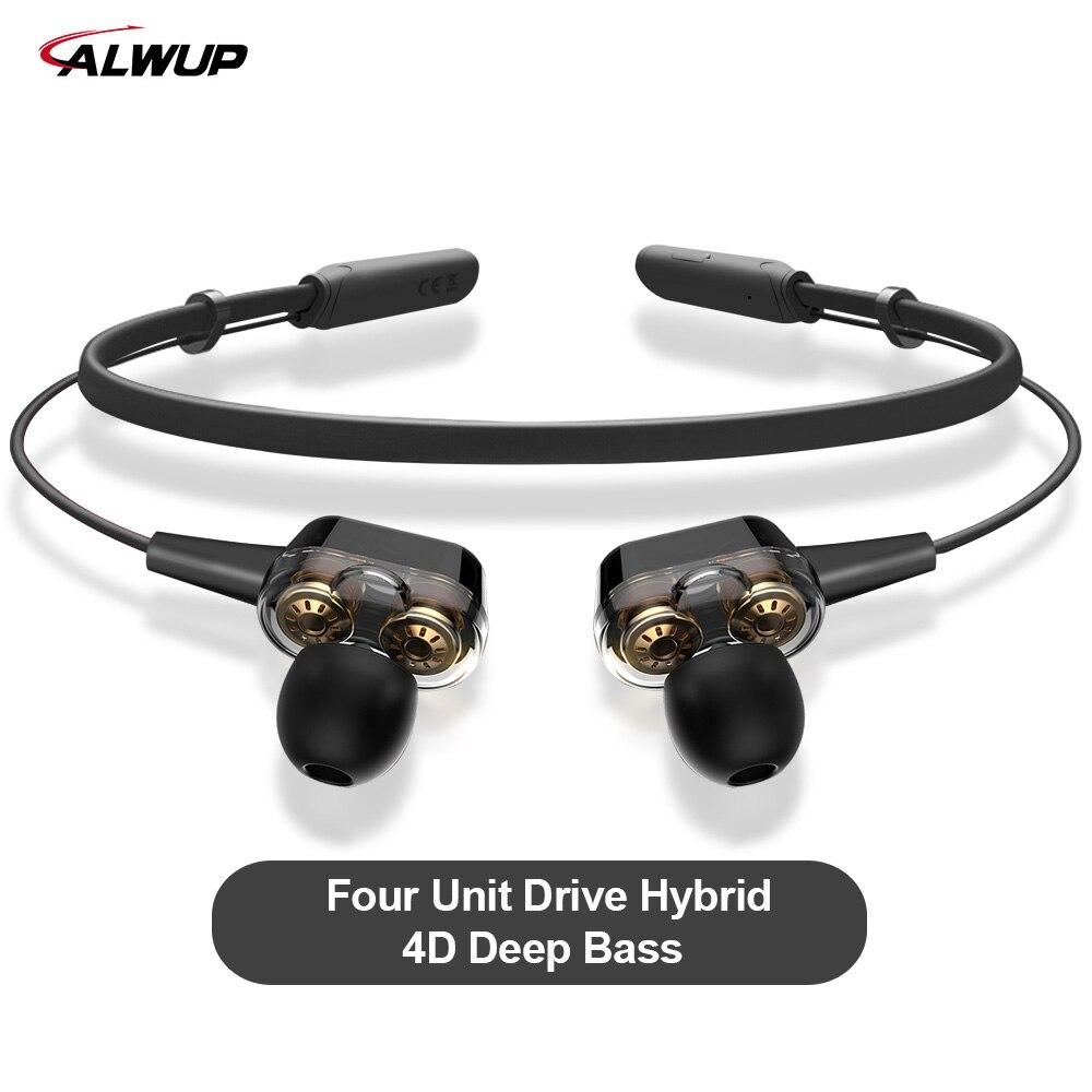 ALWUP G01 écouteurs bluetooth casque audio sans fil Quatre Unité Lecteur Double Dynamique Hybride Deep Bass bluetooth sans fil casque V5.0