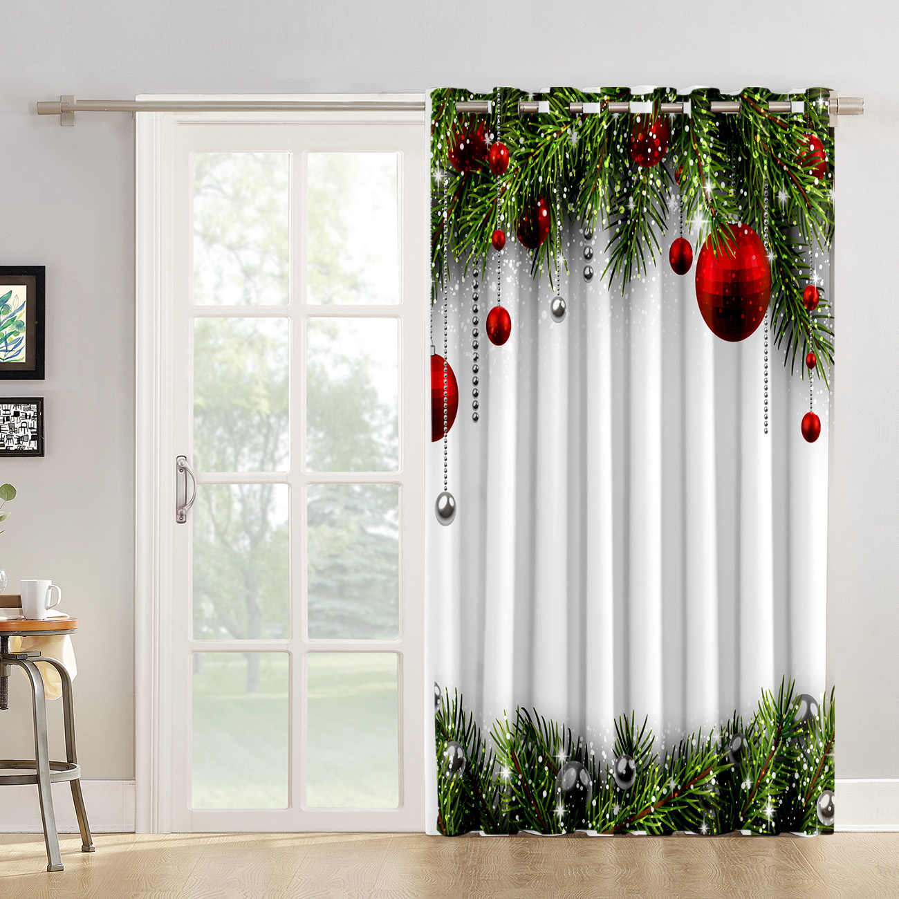 Snowing Winter Christmas Holiday Room Curtains Large Window Living Room Curtains Kitchen Indoor Fabric Window Treatment Ideas Curtains Aliexpress