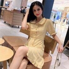 цена на Korean Dress Hong Kong Style Retro Doll Collar Checked Dress High Waist Figure A Dress 2019 Puff Sleeve  Knee-Length Plaid Dress