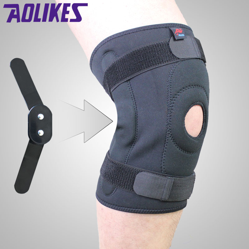 AOLIKES 1PCS Adjustable Hinged <font><b>Knee</b></font> Brace Patella Compression <font><b>Knee</b></font> Supports Kneepad Relief for basketball volleyball