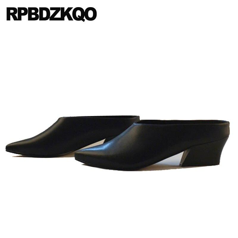 леди белый сандалии обувь Указательный палец толстый Большой размер Winkle Picker подиум Мулы домашние тапочки средняя пятка насосы Закрытый нос...