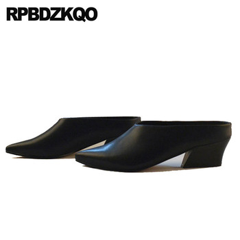 Ladies White Sandals Shoes Pointed Toe Thick Big Size Winkle Picker Catwalk Mules Slipper Medium Heels Pumps Black Closed High