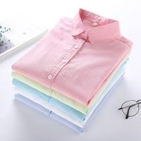 Vrouwen Blouse 2017 Nieuwe Casual BRAND Lange Mouwen Katoen Oxford Wit Shirt Vrouw Kantoor Shirts Uitstekende Kwaliteit Blusas Dame